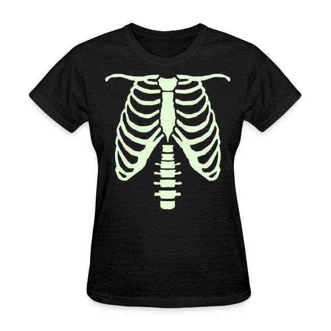 womens glow ribcage skeleton tee