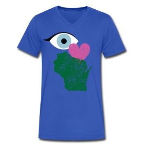Eye Heart Wisconsin - Men's V-Neck T-Shirt by Canvas