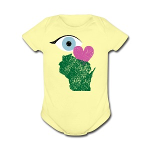 Eye Heart Wisconsin - Short Sleeve Baby Bodysuit
