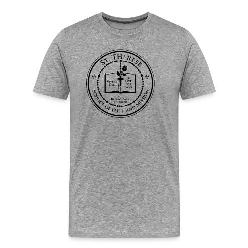 Grey T-Shirt, Black Crest - Men's Premium T-Shirt
