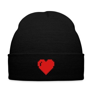 8-bit heart beanie - Knit Cap with Cuff Print
