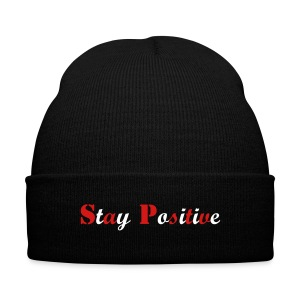 Stay Positive Beanie - Knit Cap with Cuff Print