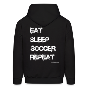 Eat Sleep Soccer Repeat Men's Hoodie wb (Back Print) - Men's Hoodie