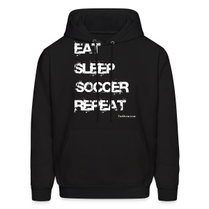 Eat Sleep Soccer Repeat Men's Hoodie wb (Front Print) - Men's Hoodie