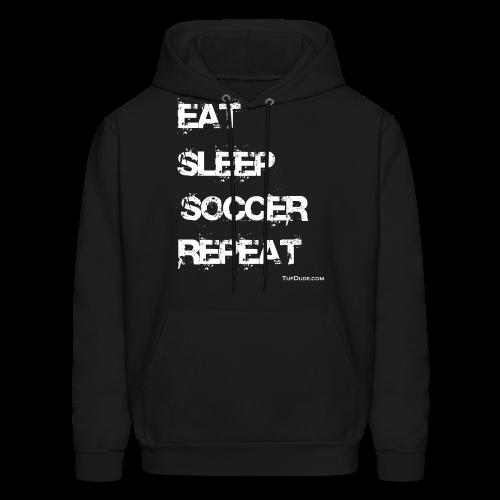 Eat Sleep Soccer Repeat Men's Hoodie wb (Front Print) - Men's Hoodie