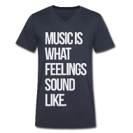 T-Shirts ~ Men's V-Neck T-Shirt by Canvas ~ Music is What Feelings Sounds Like V