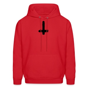 Inverted cross on red hoodie - Men's Hoodie