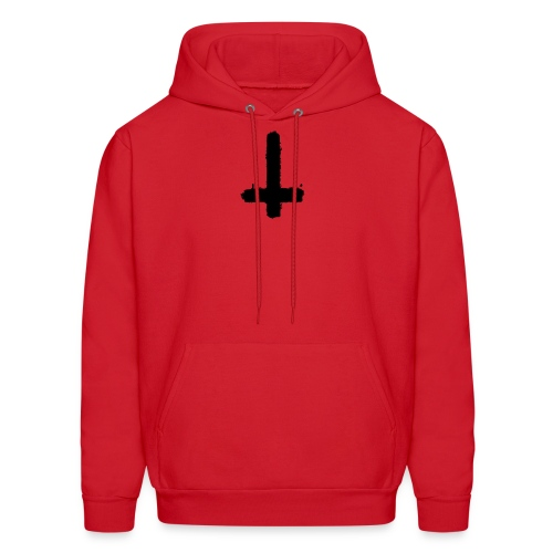Inverted cross on red hoodie - Men's Hoodie