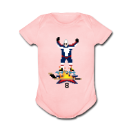 Baby Bodysuits ~ Baby Short Sleeve One Piece ~ 8-Bit Hot Stick Pink Onesie