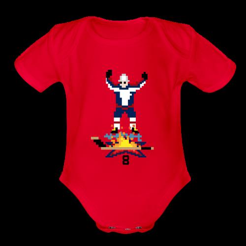 8-Bit Hot Stick Pink Onesie - Organic Short Sleeve Baby Bodysuit