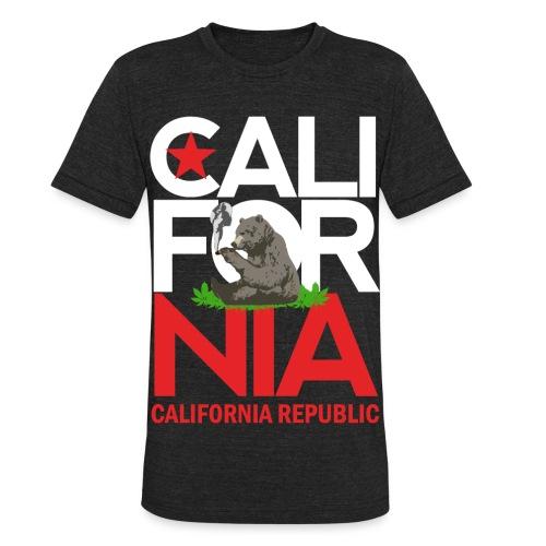 California Republic Marijuana Smoking Bear - Unisex Tri-Blend T-Shirt