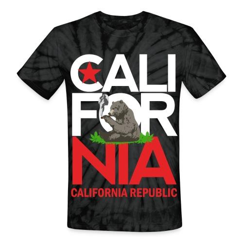 California Republic Marijuana Smoking Bear - Unisex Tie Dye T-Shirt