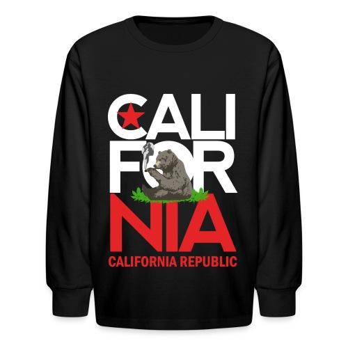 California Republic Marijuana Smoking Bear - Kids' Long Sleeve T-Shirt
