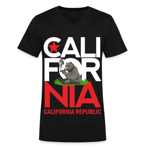 California Republic Marijuana Smoking Bear - Men's V-Neck T-Shirt by Canvas
