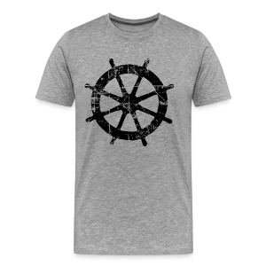 Wheel Vintage Sailing T-Shirt (Men Gray/Black) - Men's Premium T-Shirt