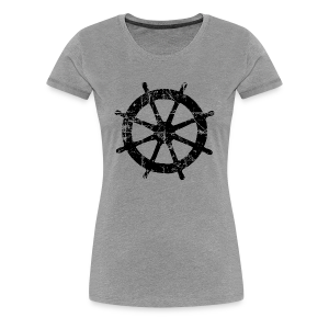 Wheel Vintage Sailing T-Shirt (Women Gray/Black) - Women's Premium T-Shirt