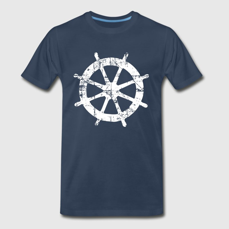 Wheel Vintage Sailing T-Shirt (Men Navy/White) - Men's Premium T-Shirt