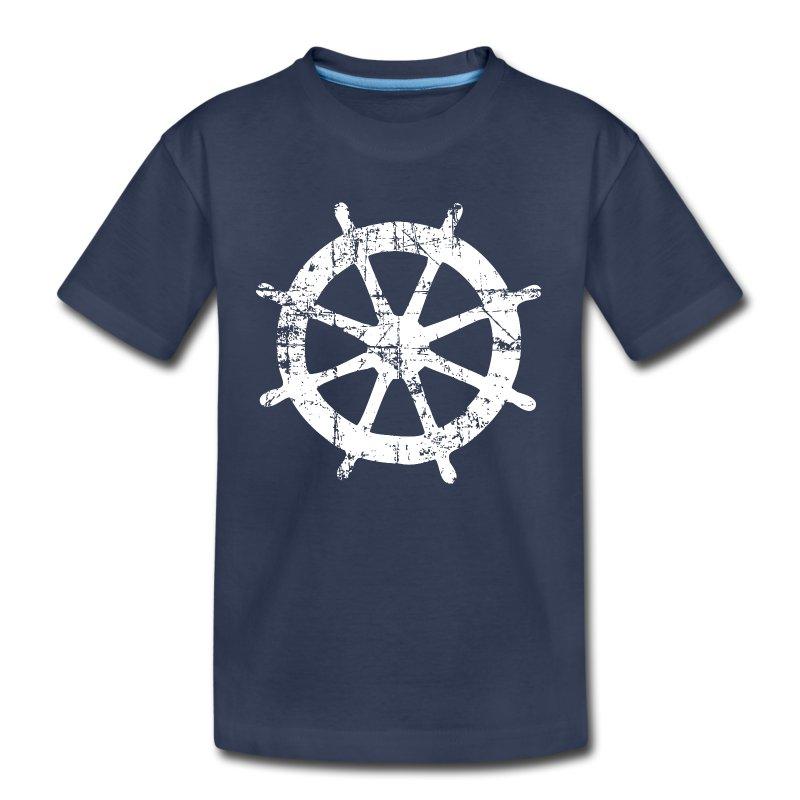 Steering Wheel Vintage Sailing Design White T Shirt