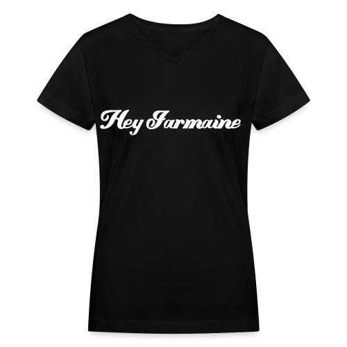 V-neck - Hey Jarmaine - White - Women's V-Neck T-Shirt
