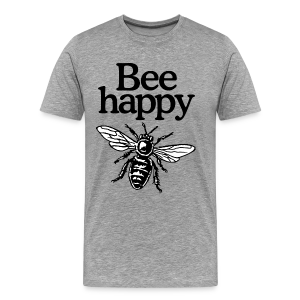 Bee Happy Beekeeper T-Shirt (Men Gray) - Men's Premium T-Shirt