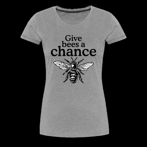 Give Bees A Chance T-Shirt (Women Gray) - Women's Premium T-Shirt