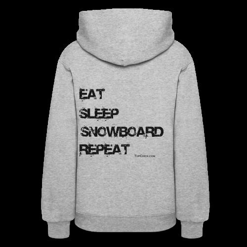 Women's Eat Sleep Snowboard Repeat Hoodie bw - Women's Hoodie