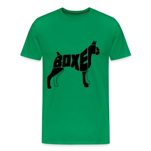 Boxer dog art - Green T - Men's Premium T-Shirt