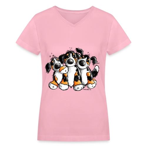 Bernese Mountain Dogs - Dog - Women's V-Neck T-Shirt