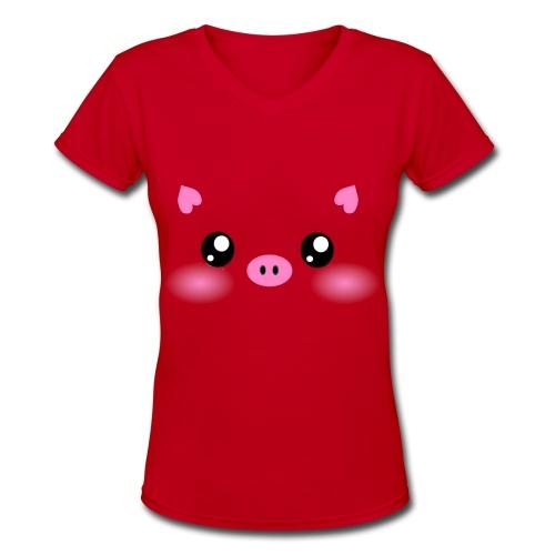 Cute Kawaii Pig Face - Women's V-Neck T-Shirt
