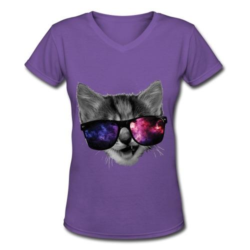 Kitten With Swag - Women's V-Neck T-Shirt
