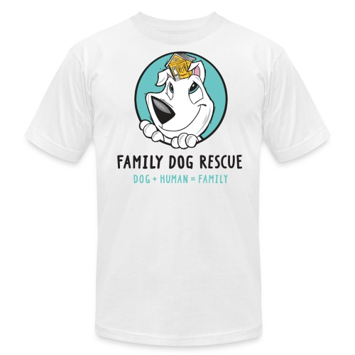 Family Dog Rescue (Mission on Back): Men's T-Shirt by American Apparel - Men's Fine Jersey T-Shirt