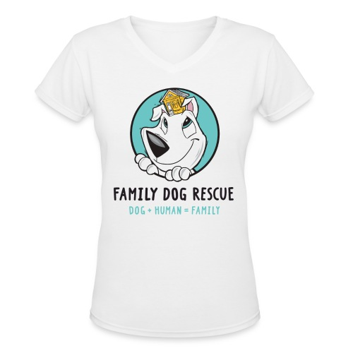 Family Dog Rescue (Mission on Back) Women's V Neck  - Women's V-Neck T-Shirt