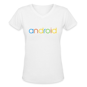 Android/V-Neck - Women's V-Neck T-Shirt
