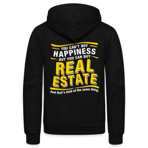 Can't Buy Happiness - Unisex Fleece Zip Hoodie by American Apparel