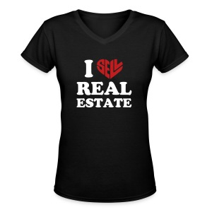 I Sell Real Estate V-Neck - Women's V-Neck T-Shirt