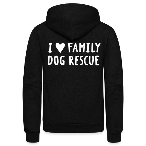 I Heart Family Dog Rescue: Am Apparel Zip Hoodie - Unisex Fleece Zip Hoodie