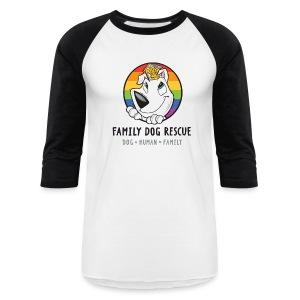 Family Dog Rescue (Pride) Men's Baseball Tee (Mission on back) - Baseball T-Shirt