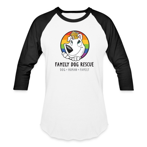 Family Dog Rescue (Pride) Men's Baseball Tee (Mission on back) - Baseball T-Shirt