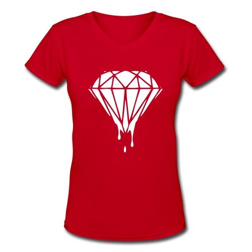 Red and White diamond shit. - Women's V-Neck T-Shirt