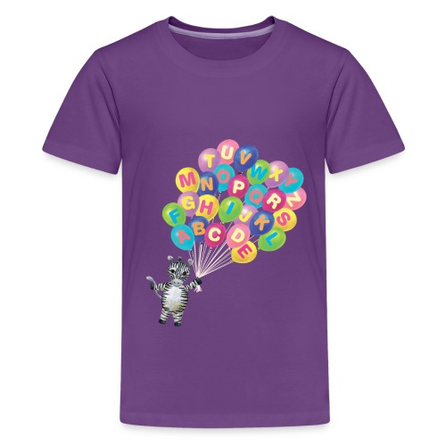 Alphabet Balloon Zebra - Kids' Premium T-Shirt