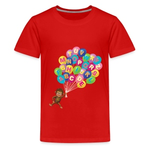Alphabet Balloon Monkey - Kids' Premium T-Shirt