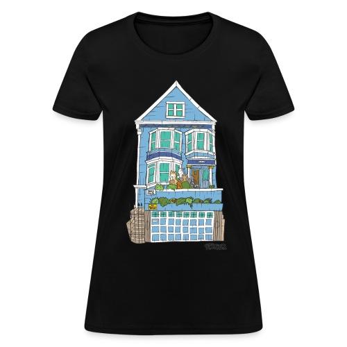 La Maison Bleue (Dog + Human = Family on Back) Women's Tee - Women's T-Shirt