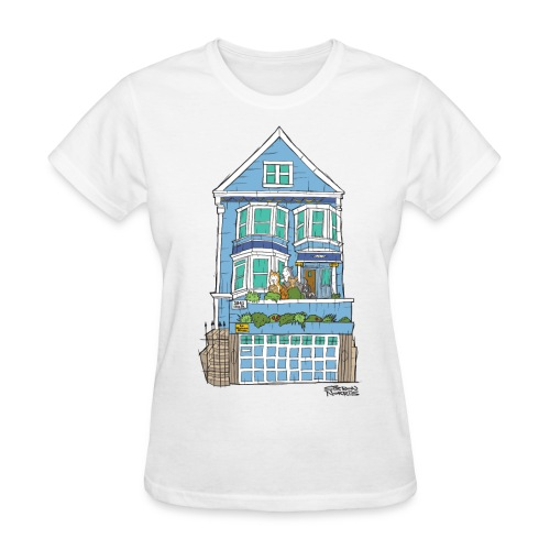 La Maison Bleue (Dog + Human = Family on Back) Women's Tee - Women's T-Shirt