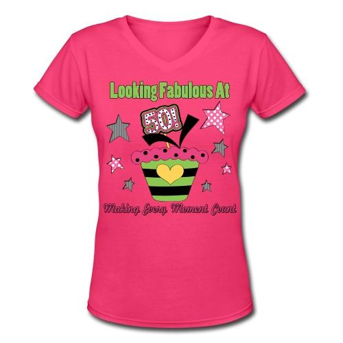 50th Birthday Cupcake - Women's V-Neck T-Shirt