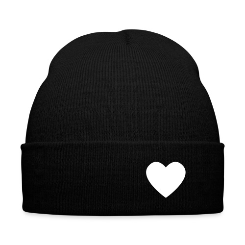 Heart Knit Hat - Knit Cap with Cuff Print