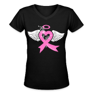 T-Shirts ~ Women's V-Neck T-Shirt ~ I've held an angel (breast Cancer)