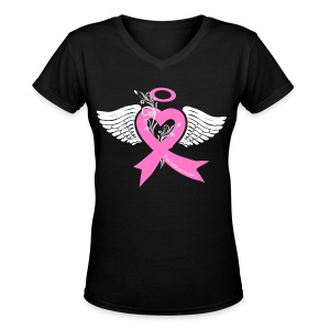 I've held an angel (breast Cancer) - Women's V-Neck T-Shirt