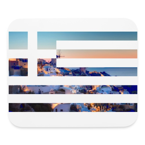 Santorini ft. Greece flag (Mouse pad) - Mouse pad Horizontal