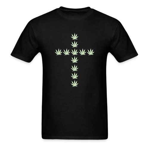 Glow in the Dark Cannabis Cross T-Shirt - Men's T-Shirt