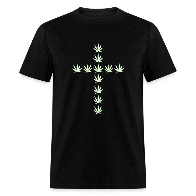 Glow in the Dark Cannabis Cross T-Shirt - Men's T-Shirt